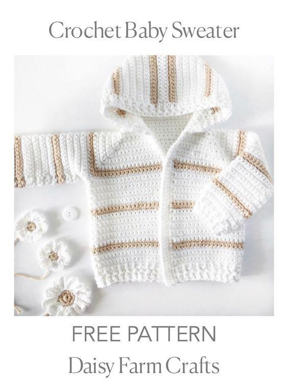 FREE PATTERN - Crochet Baby Sweater | crochet tops | Pinterest ...