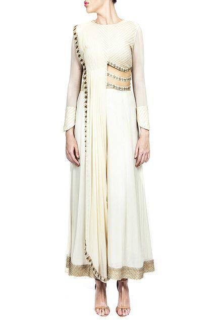 c298cb5a9111 RIDHIMA BHASIN Cream embroidered jumpsuit with draped dupatta ...