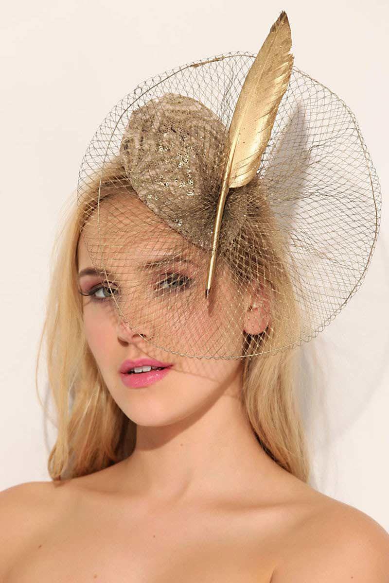 Photo of Hilaris / Pudra Altın Küçük Abiye Davet Şapkası