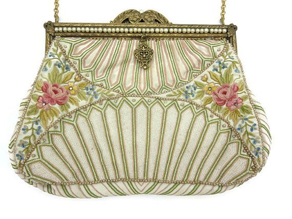 1930s Beaded and Embroidered Purse - French Pastel Pink and Green Pearls
