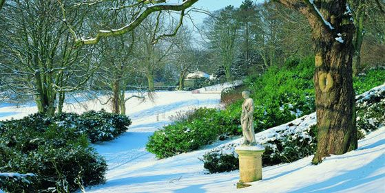 Waddesdon Manor Statues in the Snow. ©National Trust, Waddesdon Manor.  Photo: Mike Fear