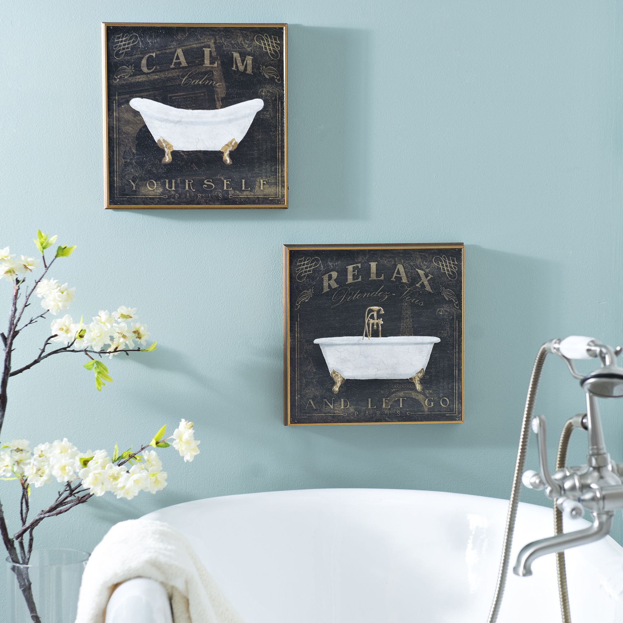 Relax And Calm Bathroom Wall Plaques