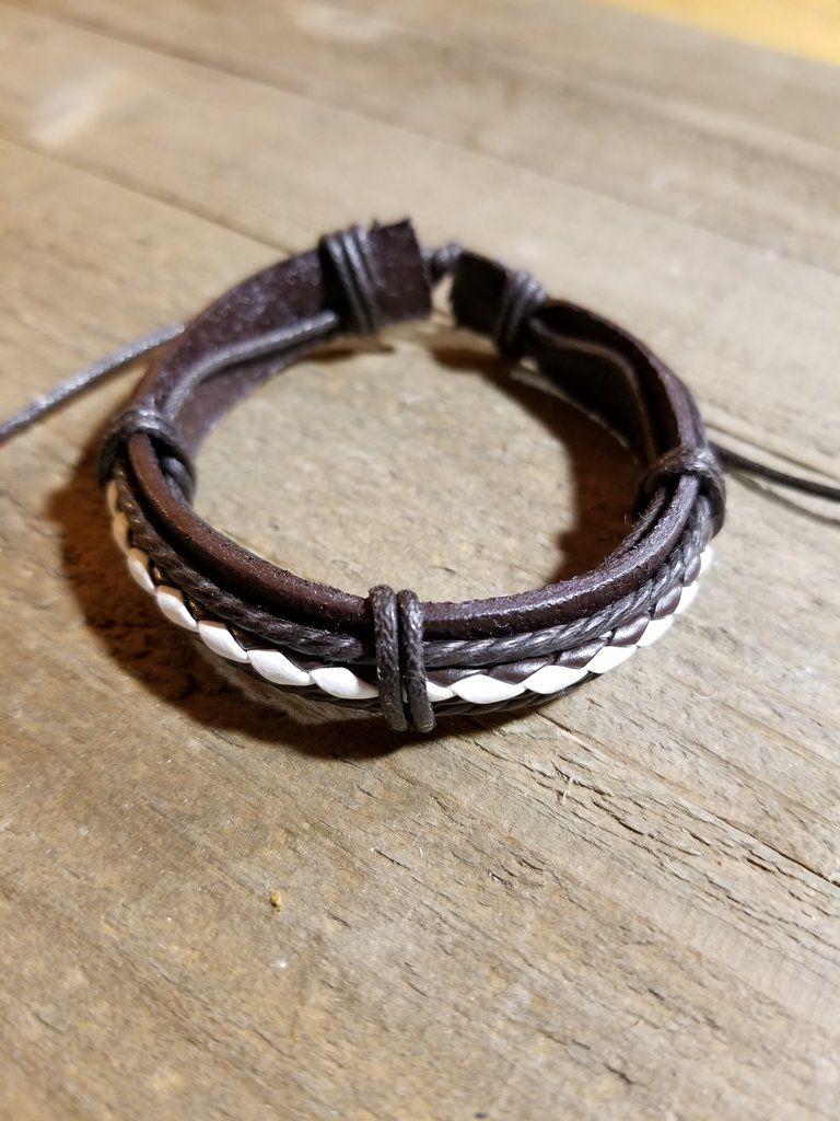 Brown leather braided white adjustable bracelet b brown