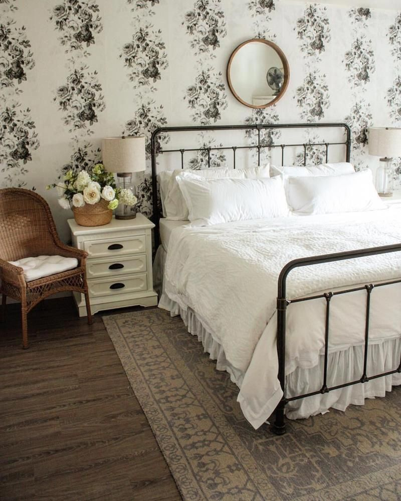 Magnolia Home Tea Rose White and Black Floral Wallpaper