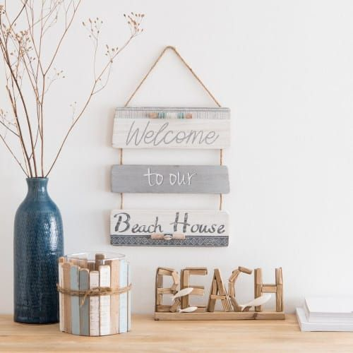 Blue And White Paulownia Wall Art 28 X 32cm Beach Welcome Maisons Du Monde Trending Decor Decorative Storage Boxes Blue And White