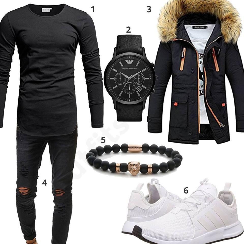 Photo of Abito da uomo nero con giacca invernale, manica lunga e jeans – outfits4you.de