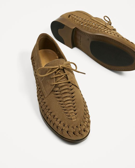 Image 5 of BROWN BRAIDED LEATHER SHOES from Zara