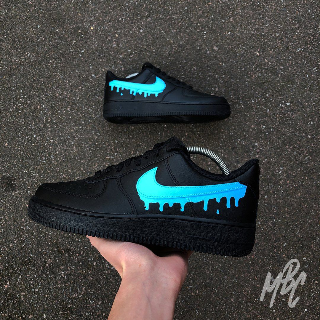 Nike af1 dripping swoosh in 2020 Black nike shoes