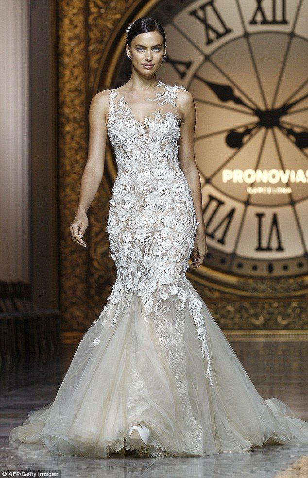 87a6b441e28 She d make a beautiful bride  Irina Shayk owned the runway as she modelled  a Provonias wed.
