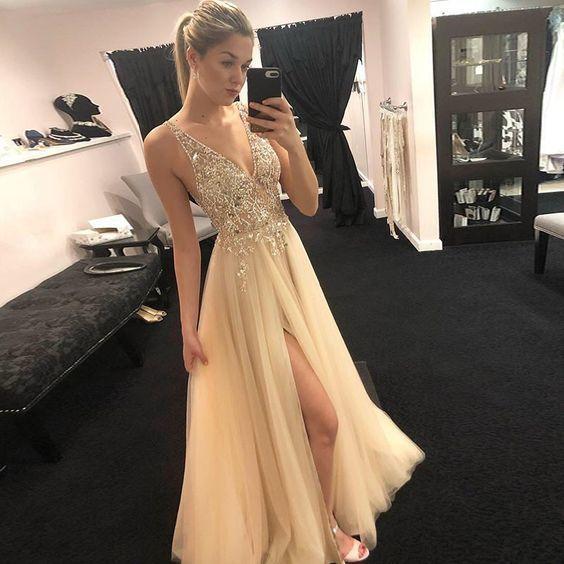 Elegant A Line V Neck Open Back Split Yellow Beaded Long Prom Dresses, Charming Long Evening Dresses -