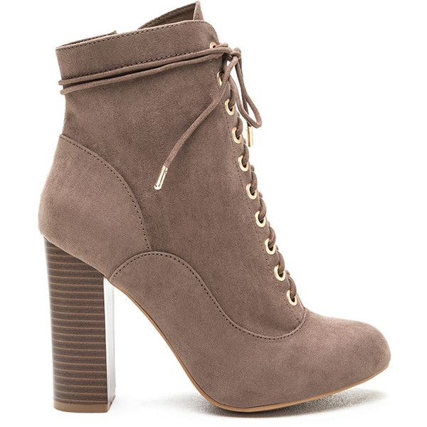 So Obsessed Lace-Up Chunky Booties (2,480 INR) ❤ liked on Polyvore featuring shoes, boots, ankle booties, ankle boots, tan, chunky-heel ankle boots, lace up boots, tan booties, tan lace up booties and faux suede lace-up booties