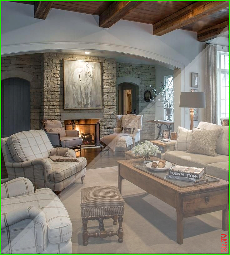 In this comfy casual living room stone used on the ... on Fireplace Casual Living id=95917
