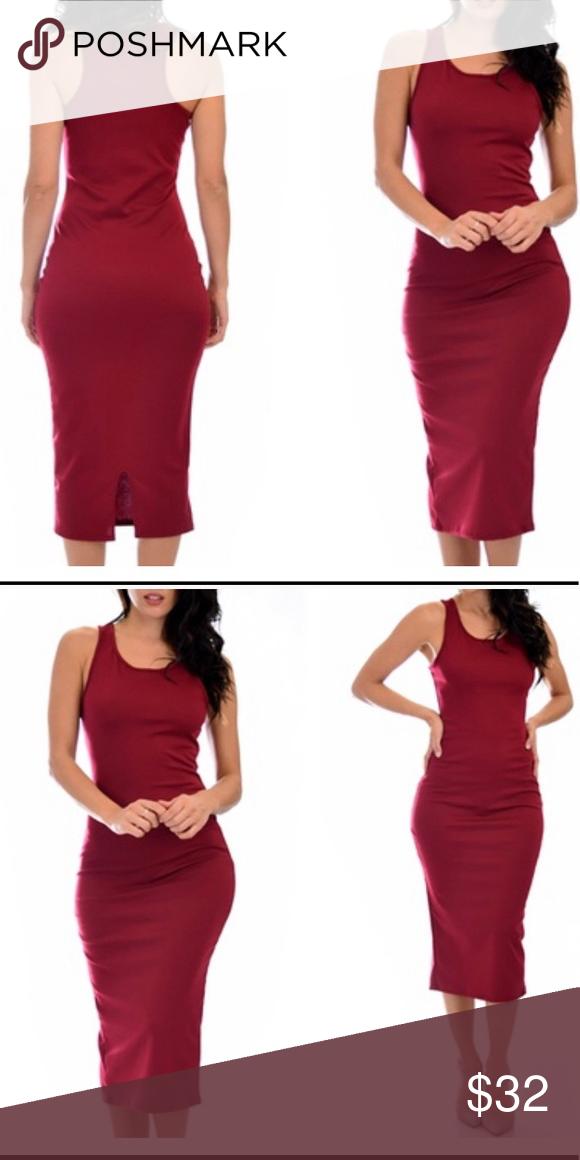 c770bcd23065 Wine Colored Body-con Midi Dress Wine Colored Body-con Midi Dress Simple  and Stylish 83% polyester