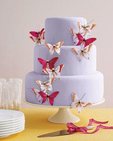 Pretty fabric butterflies transform a plain-Jane cake