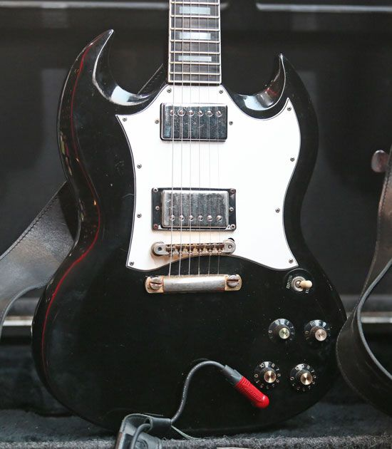 Angus Youngs Touring Guitars His Backup Is A 1970 SG Custom That He Used On The Back In Black World Tour During Early Guitar Originally Had
