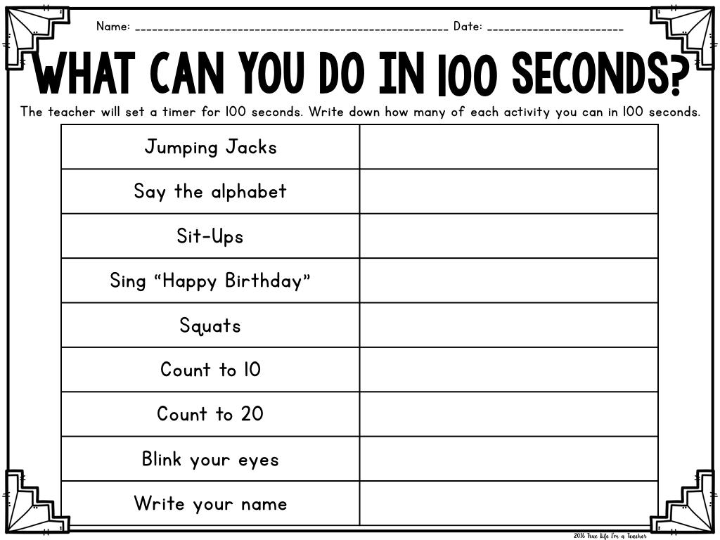 100th Day Math Freebies