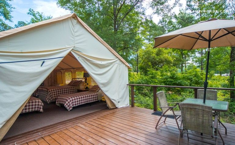 Gorgeous Luxury Camping Tents On Lake With Dock Perfect