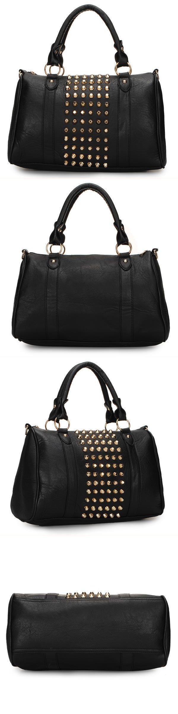 Fashion Punk Style Bag Women Handbag Rivets Barrel Shoulder Handbags 4 Wags 9