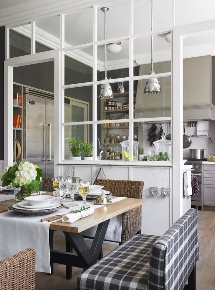 Cocina semi integrada separada por cristal | Ideas Casa | Pinterest ...