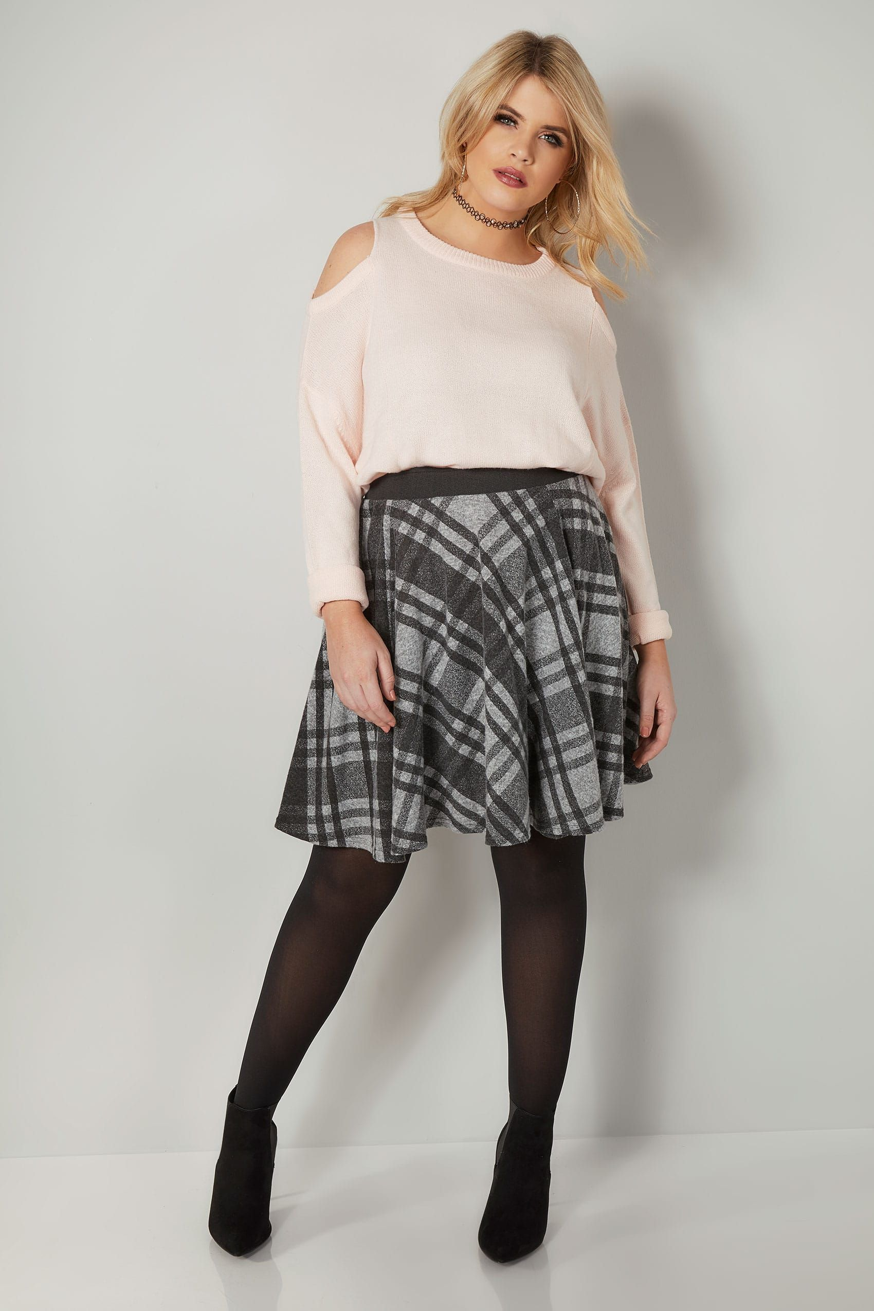 08c2db9bd68e9 LIMITED COLLECTION Grey Checked Skater Skirt