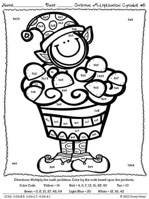 Multiplication Christmas Computation Cupcakes Math Color By The Code Puzzles Math Coloring Worksheets Math Coloring Christmas Math Activities