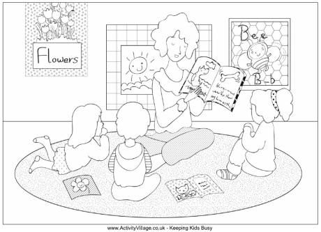 teacher reading colouring page