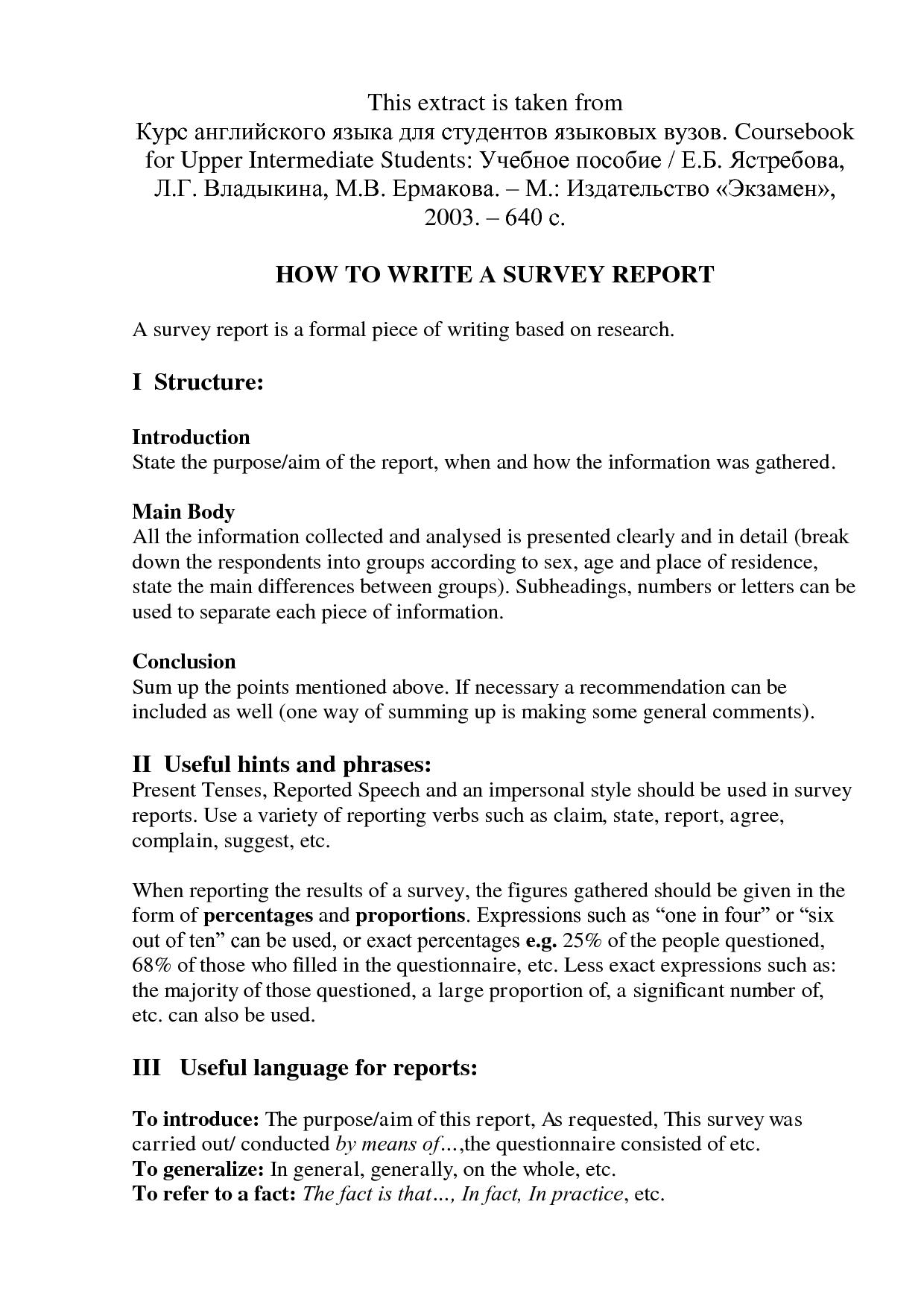 How To Write A Survey Report