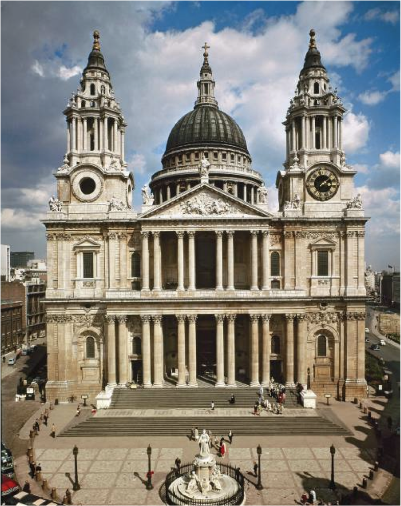 Sir Christopher Wren, façade of St. Paul's, cathedral ...