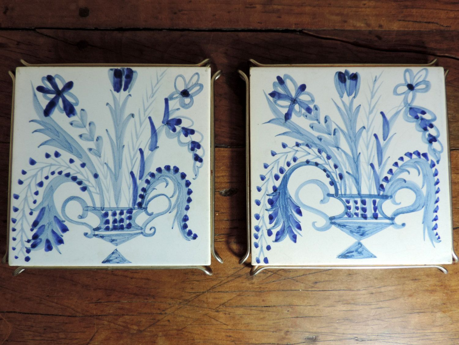 French vintage trivetsfrench vintage hand painted tile trivets french vintage trivetsfrench vintage hand painted tile trivetsvintage trivetfrench vintage ceramic tile trivets set of 2pair of trivets dailygadgetfo Choice Image