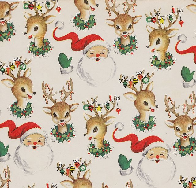 Vintage Christmas Wrap Santa and Reindeer | Vintage christmas ...
