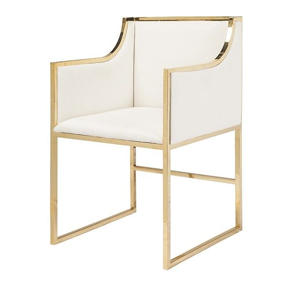 Worlds Away Anabelle Brass Occasional Chair With White Velvet Upholstery