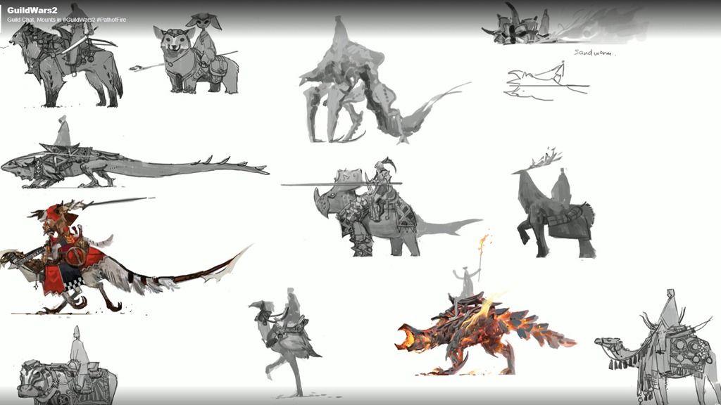 Gw2 Mounts Guild Chat Livestream Coverage Guild Wars Guild Wars 2 Animal Sketches