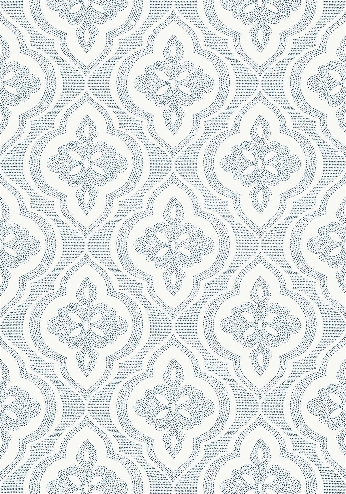 Ophelia 839 T 2995 Fabric Wallpaper Thibaut Wallpaper Navy Wallpaper