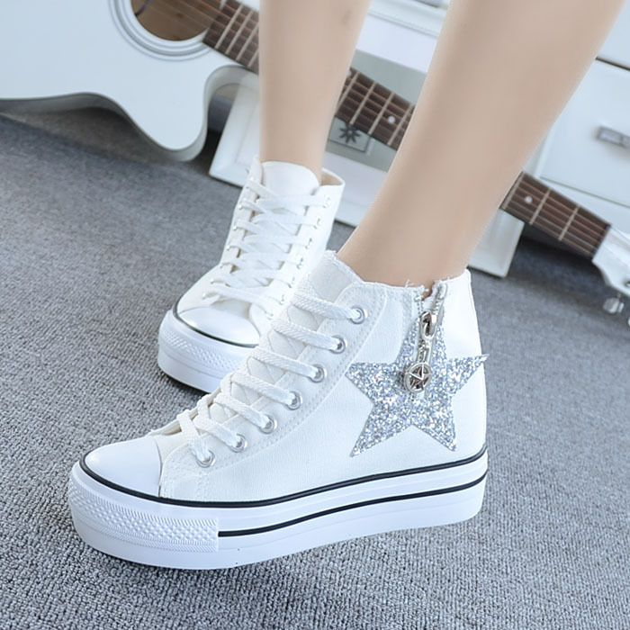 Wedge Heels Platform Lace Up High Top Trainers Sneakers