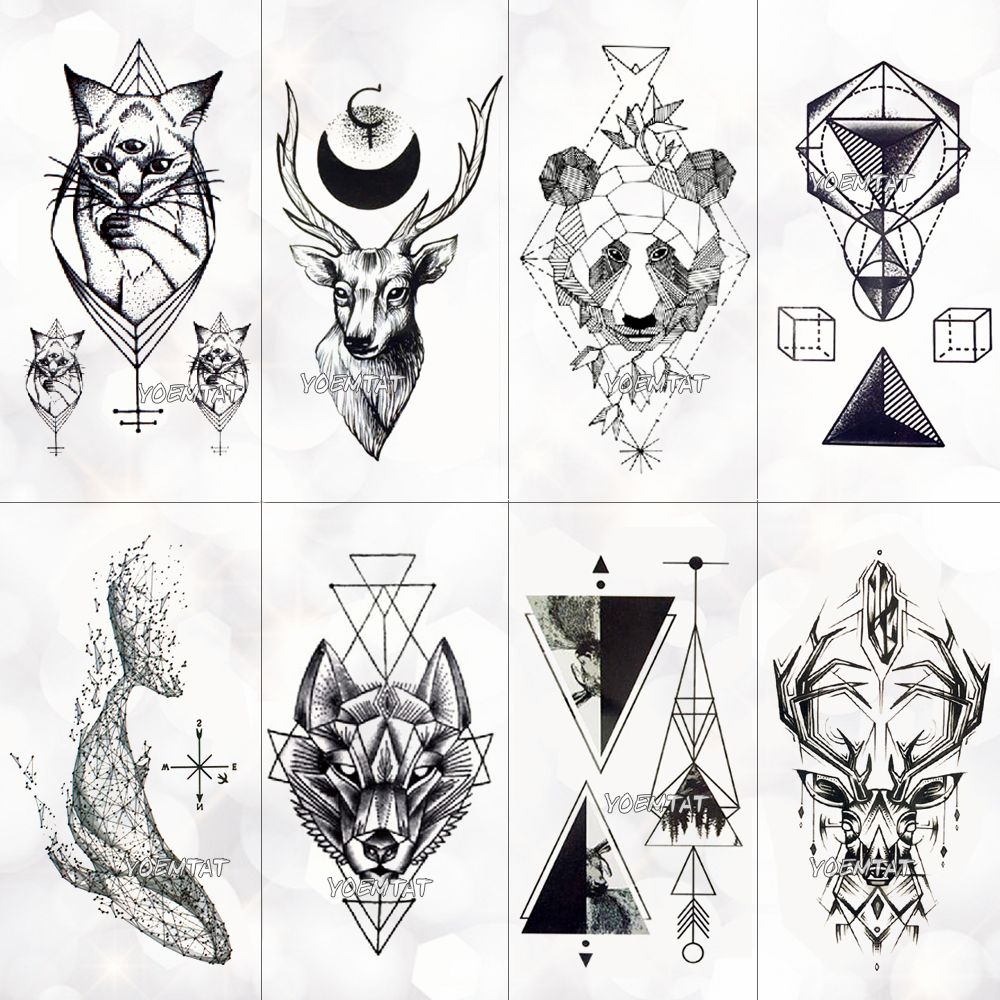 Geometry cool Temporary Tattoo Sticker Women Minimalist lines pattern Body Art New Design Fake Men Tattoos | best to buy online
