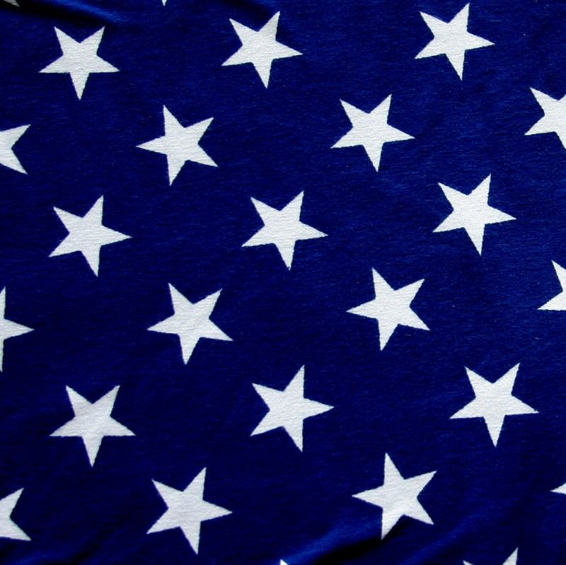 White Stars On Patriotic Blue Cotton Lycra Knit Fabric