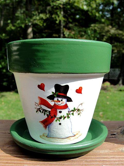 christmas flower pot hand painted christmas snowman flower pot