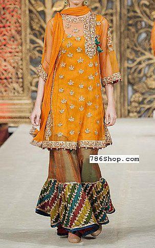 Orange Crinkle Chiffon Suit   Buy Pakistani Designer Fashion Dress