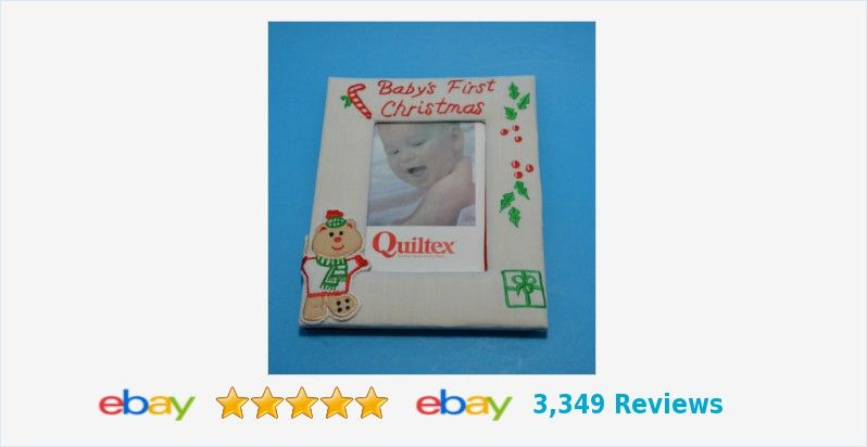 "Baby's First Christmas Picture Photograph Frame holds 3.5 x 5"" embroidered appliqued #BabysFirstChristmas"