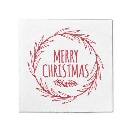 Hand Drawn Merry Christmas Wreath Holiday Napkins Zazzle Com Christmas Wreaths Holiday Wreaths Merry Christmas