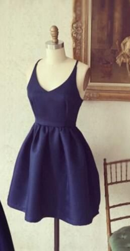 ced1fe13bbf Simple Short A-line Navy Blue Homecoming Dress with Criss Cross Back ...