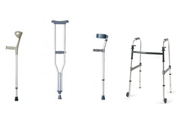 forearm crutches, walking sticks, underarm crutches, canes, walkers, and scooters
