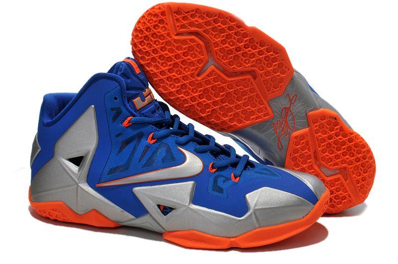 promo code db29b 45c5e Cheap Blue Silver Orange Nike Lebron XI 11 For Wholesale Shoes store sell  the cheap Nike