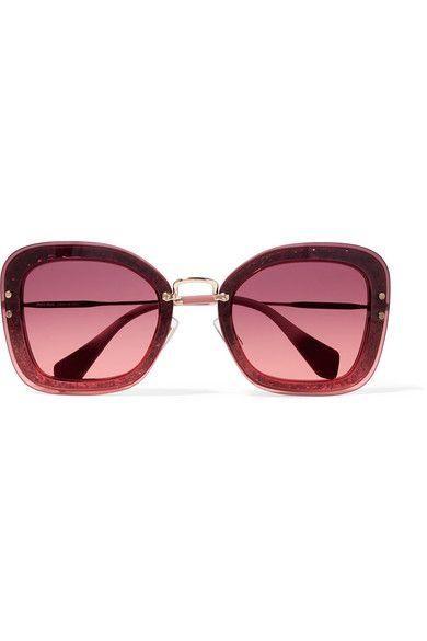 Miu Miu   Square-frame glittered acetate and gold-tone sunglasses   NET- ab5268b5f1