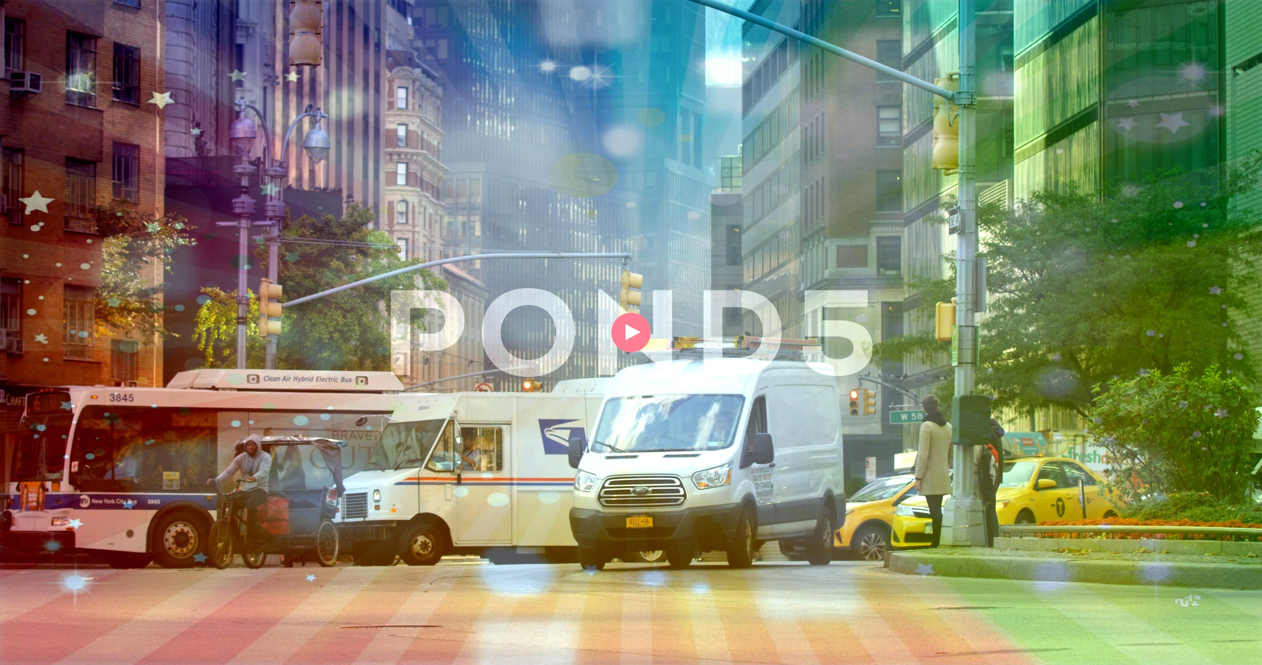 Traffic On An Iconic New York Road In New York City Pedestrians Crossing Stock Footage YorkRoadIconicBusyBusy Traffic On An Iconic New York Road In New York City Pedestri...