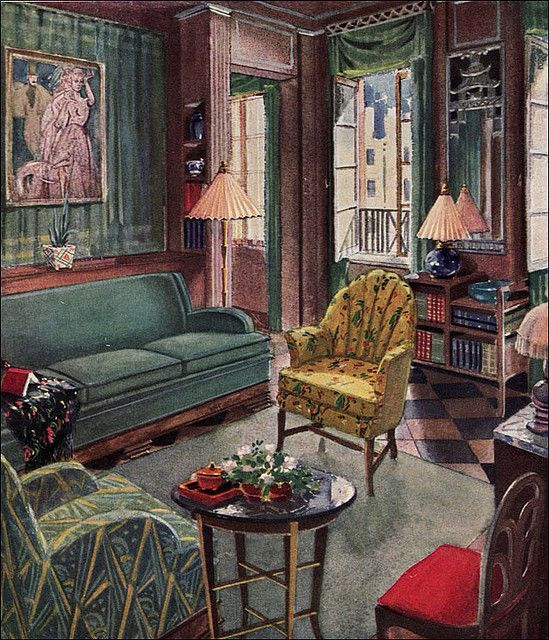 1929 Modern Living Room By Karpen By American Vintage Home Via Flickr Art Deco Living Room 1920s Interior Design Art Deco Interior