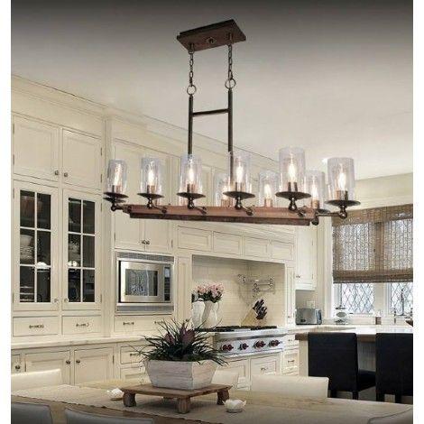 luminaire suspendu en bois pin fonc avec m tal bronze. Black Bedroom Furniture Sets. Home Design Ideas