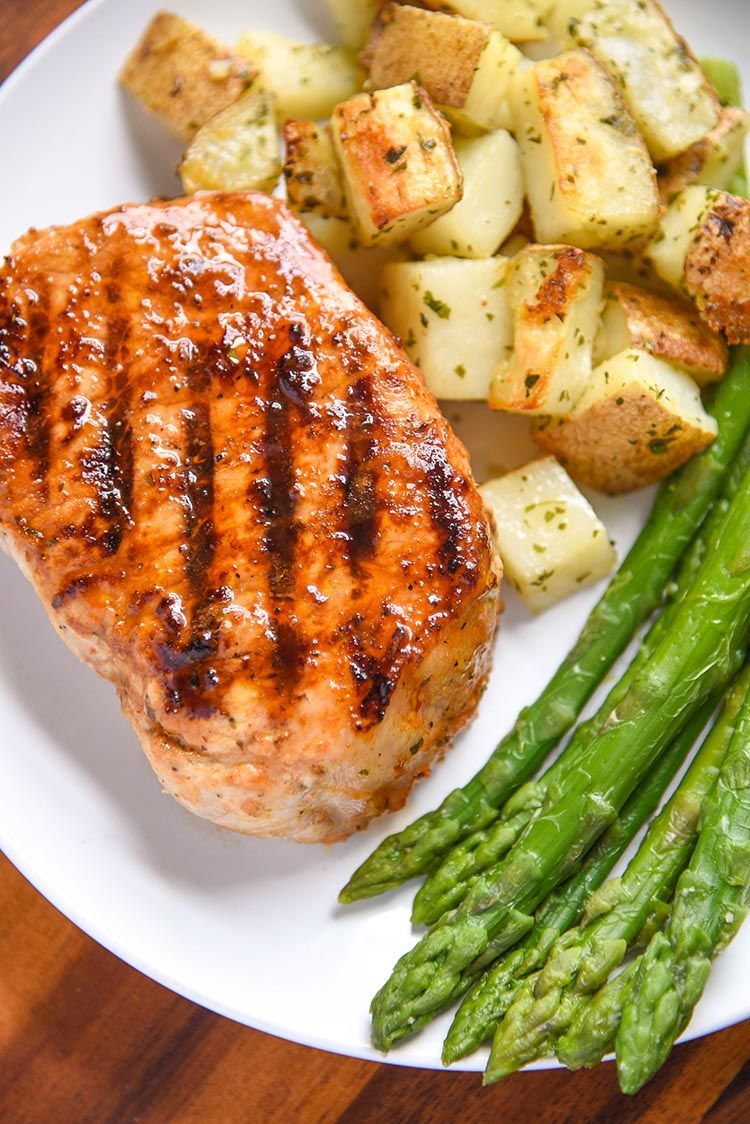 This pork chop marinade is perfect for grilled pork chops or even baked pork chops. Full of flavor, quick and easy marinade recipe. #grilledporkchops