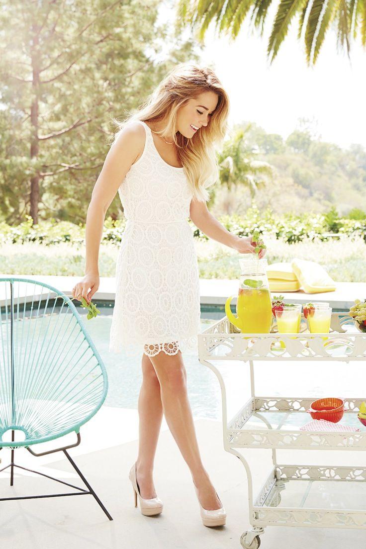 b34a2c2a831a4c Feeling fancy  Try a white crochet dress with nude pumps. LC Lauren ...