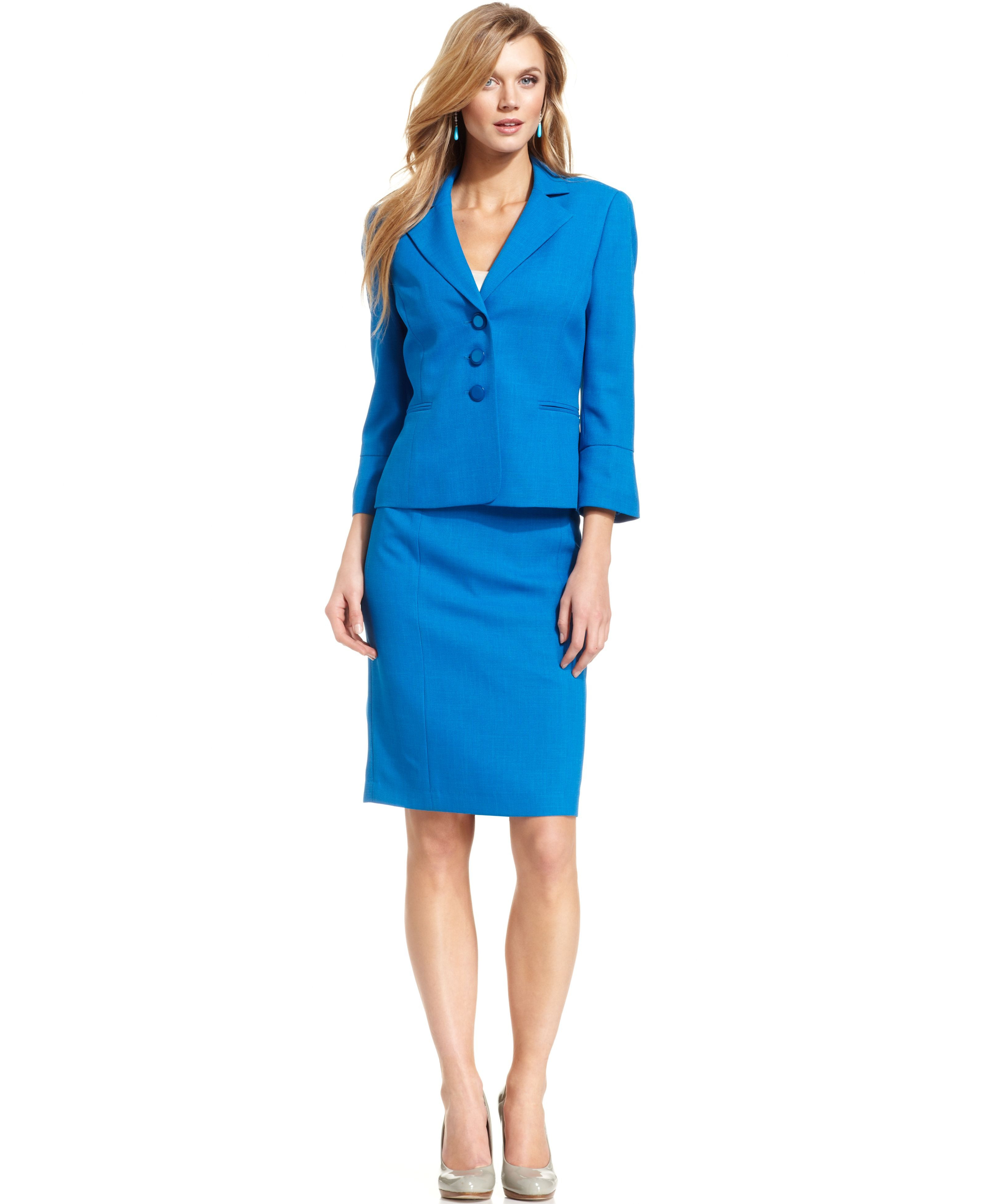 Evan Picone Three Button Jacket Skirt Suit Macys Jayne Moore Macys